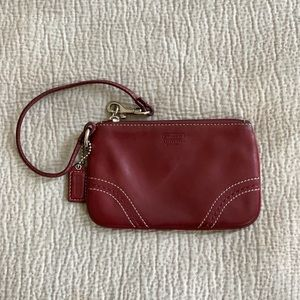 Small Burgundy Leather Coach Wristlet